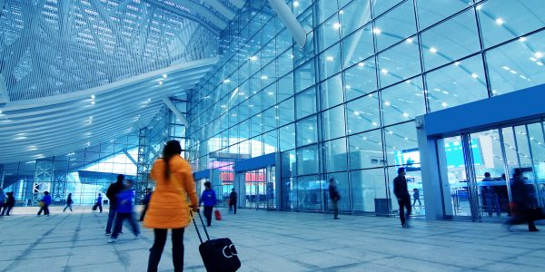 inside the international airport in China